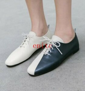 Women-039-s-Multicolor-Leather-Oxfords-Flats-Lace-Up-Mary-Janes-Square-Toe-Shoes-New