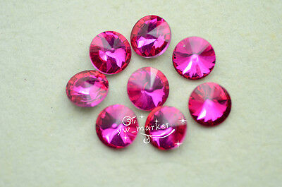 100 PCS 12mm Glass Color Faceted Glass Round Jewels