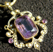 ANTIQUE VICTORIAN 9ct GOLD AMETHYST & SEED PEARL PENDANT / BROOCH  c1889