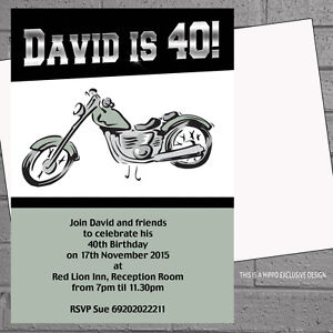 Image Is Loading Personalised Mens Birthday Party Invitations Motorbike X 12