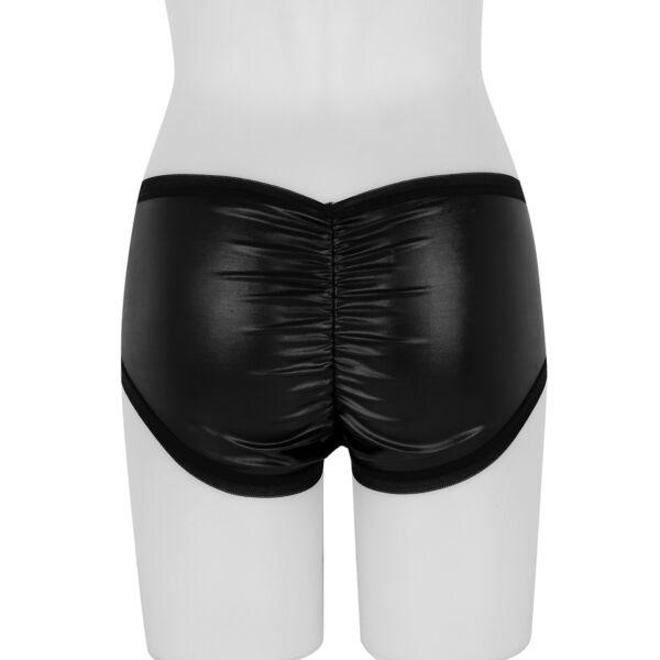 Damen Hotpants Kurz Panty Wetlook Panties Hipster Unterwäsche Reizwäsche Schwarz