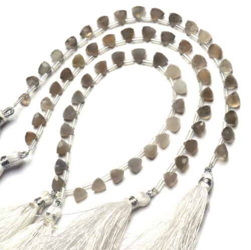 "Natural Gem Super Quality Grey Moonstone Faceted 7MM Trillion Shape Beads 7/"""