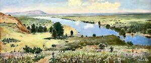 painting-art-socialist-realism-vintage-landscape-old-Suhov-Village-socrealizm
