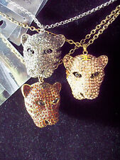 Silver or Gold or Rose Rhinestone 3D Leopard Cat Head Necklace Pendant w Chain