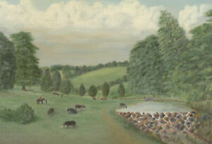 John-E-Stephens-Signed-20th-Century-Oil-Livestock-by-the-River