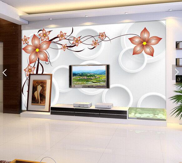 3D Brown Flowers 75 Wall Paper Murals Wall Print Wall Wallpaper Mural AU Lemon