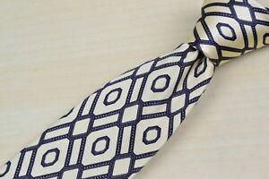 Stefano-Ricci-Off-white-Red-Blue-Geometric-Silk-VTG-Tie-EUC