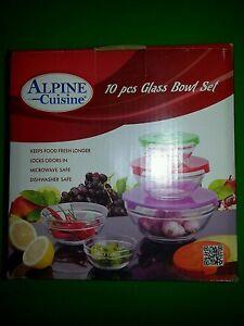 Alpine cuisine 10 piece glass bowl kitchen storage ebay for Alpine cuisine glass bowl set