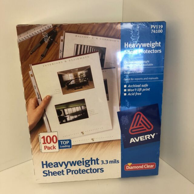 74100 New Avery Diamond Clear Heavyweight Sheet Protectors 100pk