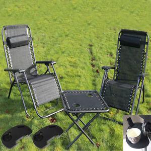 Textoline Reclining Zero Gravity Garden Sun Lounger Table