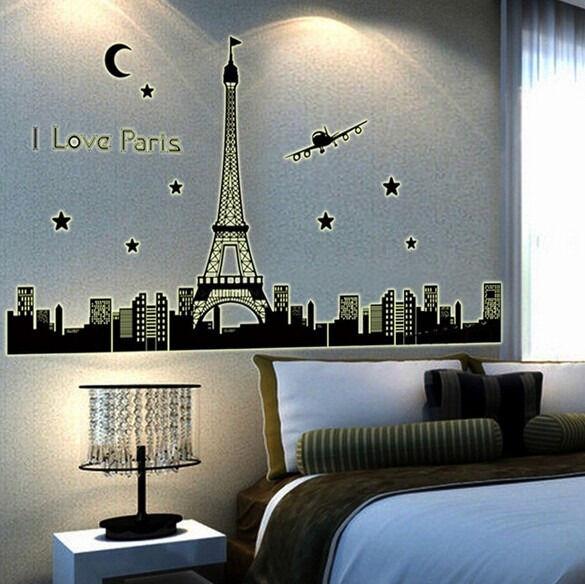 Paris Eiffel Tower Night Fluorescent Wall Sticker Mural Art Decal Home Decor wn