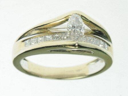 Ladies 14K Solid White gold Diamond Marquise Cut Engagement Estate Ring J200027