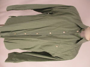 Ermenegildo Zegna Mens Green Check Long Sleeve Cotton Shirt XL Italy Made