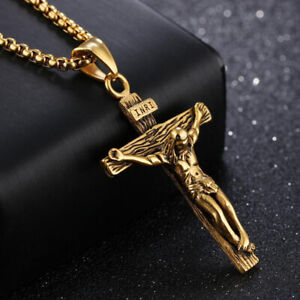 Men-039-s-Stainless-Steel-Jesus-Christ-Crucifix-Cross-Pendant-Necklace-Yellow-Black