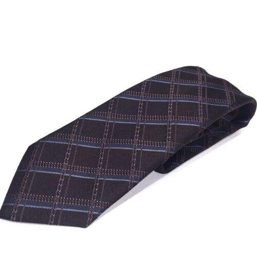 BRIONI Mens Black Gray Blue Check Silk Neck Tie Handmade in Italy MSRP $230