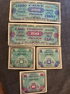 Lot-banknote-francs-allies-2-5-10-50-and-100-frs-APCs-sup