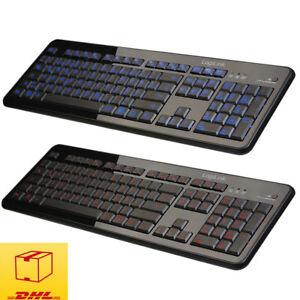 LogiLink-Beleuchtet-Tastatur-blau-orange-PC-Keyboard-USB-Deutsches-Layout