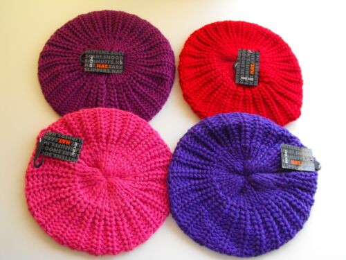 Girls Chunky Knitted Beanie Beret Lurex Hat Purple /& Hot Pink Age 5-12 years