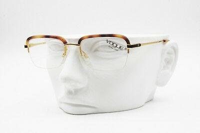 Vogue Trevor , Squared Half Rimmed Golden Frame Eyeglass Havana Acetate Eyebrows