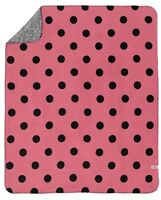 Victoria's Secret Pink Pink & Black Polka Dot Reversible Stadium Blanket/throw
