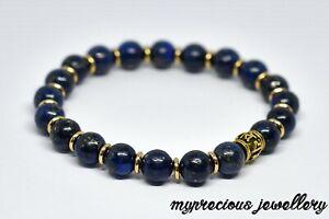 Natural Lapis Lazuli Gemstone Bracelet Silver Healing Stone Elasticated Sanskrit