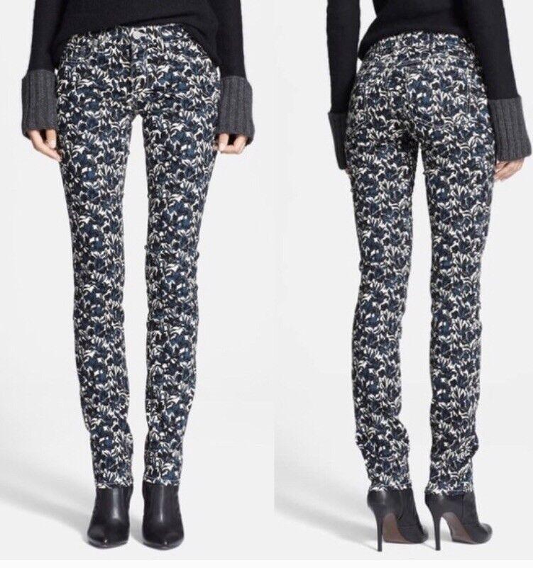 Tory Burch Blaire Floral Super Skinny Jeans Size 26 X 32 EUC
