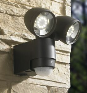 LED Strahler Bewegungsmelder Wandstrahler Außenleuchte 127-2, Schwarz Anthrazit