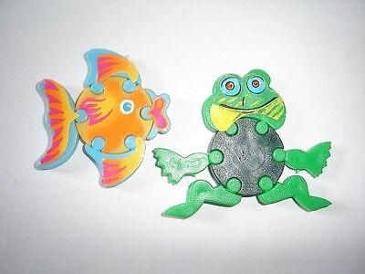 KINDER SURPRISE SET - 3D PUZZLE FISH & FROG 1993 - FIGURES TOYS COLLECTIBLES