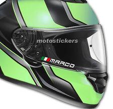 4 Nomi adesivi + bandiera uso visiera casco moto auto
