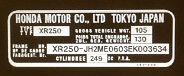 HONDA XR250 XR250R HEADSTOCK FRAME RESTORATION DECAL