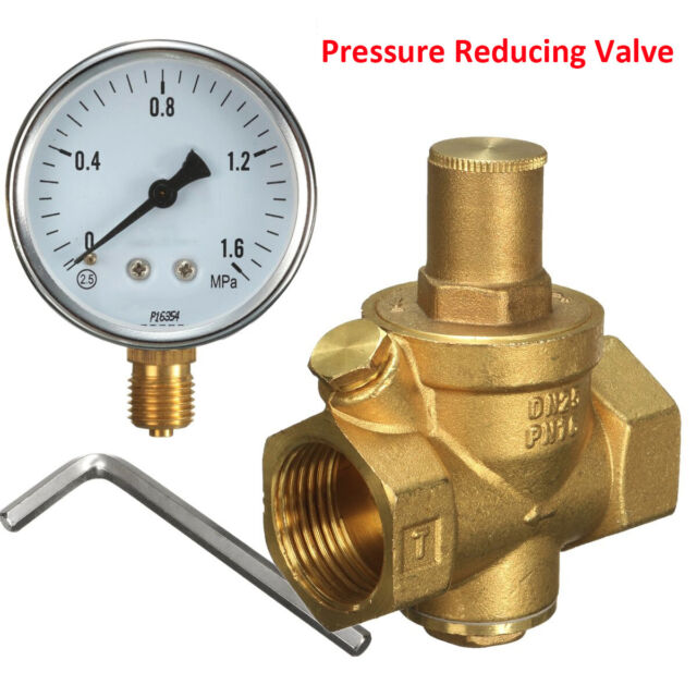 "DN15 1/2"" Brass Water Pressure Reducing Regulator Valve Reducer + Gauge Meter"