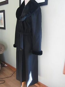 Klein Faux Pure Trim Charles Vintercoat Størrelse 10 Fur Ull Sort gBSqqw