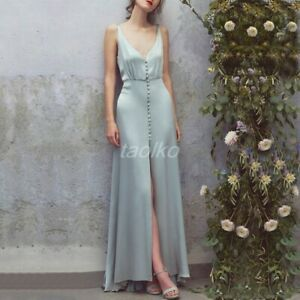 Sexy-Deep-V-neck-Slip-Dress-Women-039-s-Slim-High-Slit-Falbala-Swing-Wedding-Skirts