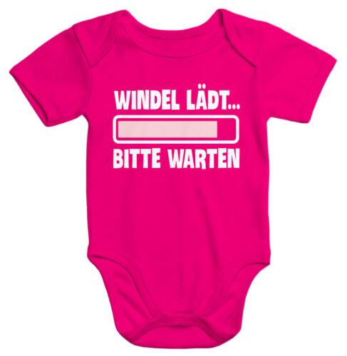 Kurzarm Baby-Body mit Aufdruck Windel lädt bitte warten Spruch lustig
