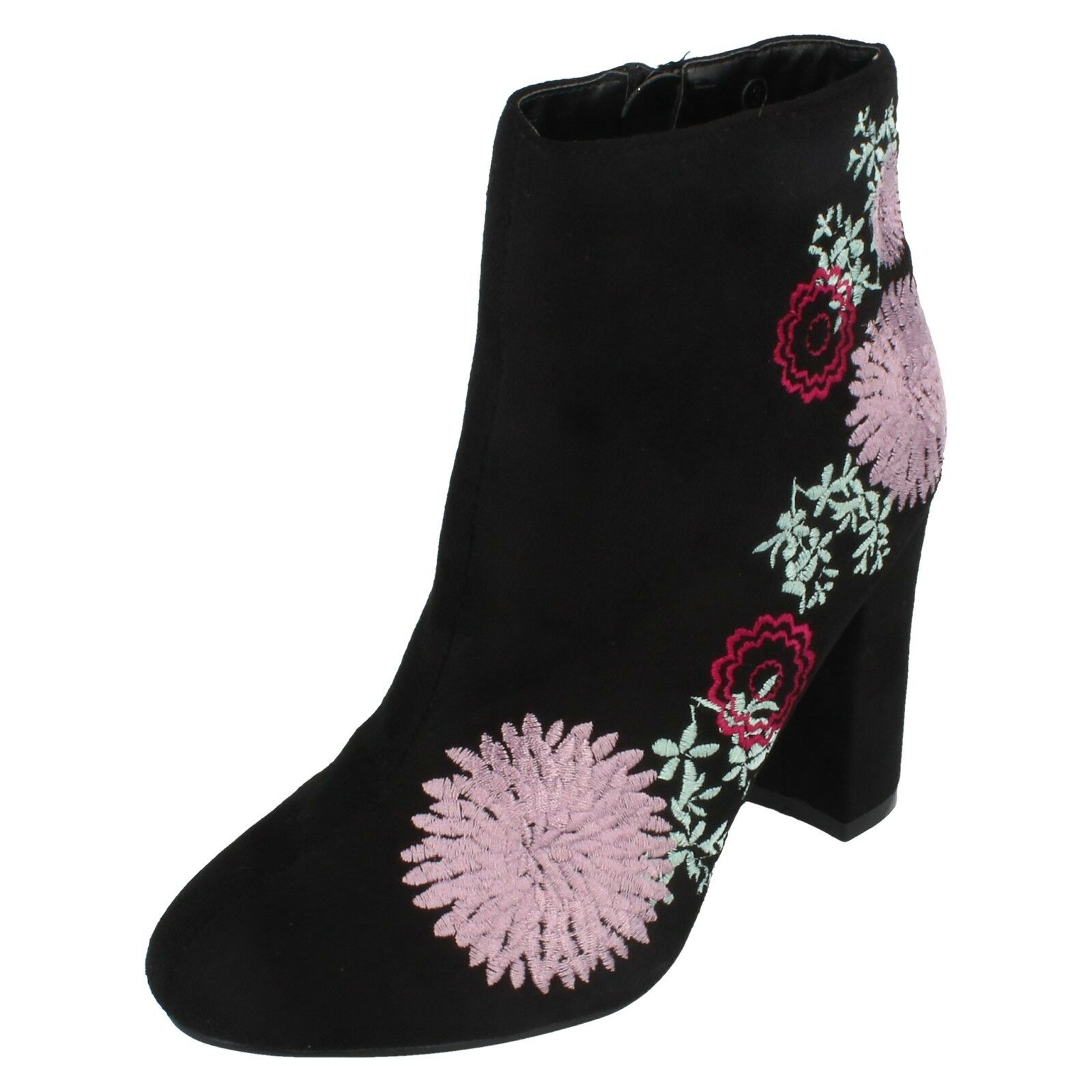 Ladies FRelicity Faux Suede Floral Embroidered Block Heel Boot By Dolcis retail