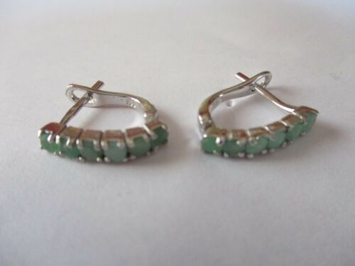Gorgeous Sterling Silver Emerald Earrings 6 round  real Emeralds 925 silver