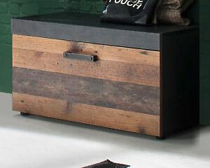 garderobe bank sitzbank   wood matera grau schuhbank