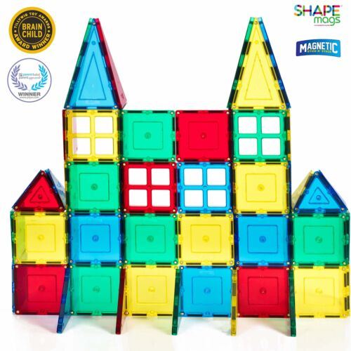 60 Piece Red, Magnetic Stick N Stack Magnetic Tiles Starter set With 4 Windows