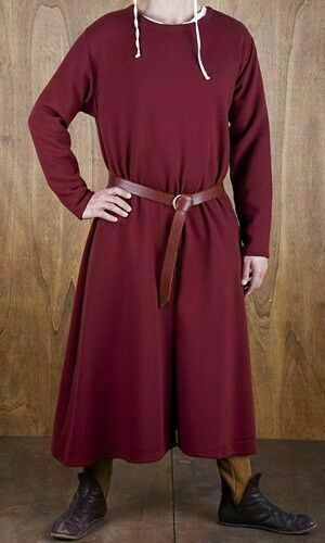 MEDIEVAL Tunic Surcoat Full Sleeve Renaissance in Maroon Color