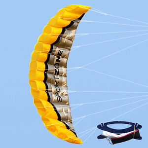 NEW-2-5m-Dual-Line-Parafoil-Parachute-Stunt-Sport-Beach-Outdoor-Toys-YELLOW-Kite
