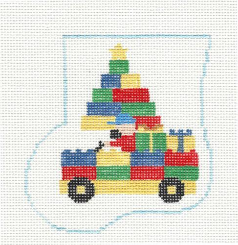LEGO BLOCKS TRUCK Mini Stocking handpainted Needlepoint Canvas by Kathy Schenkel