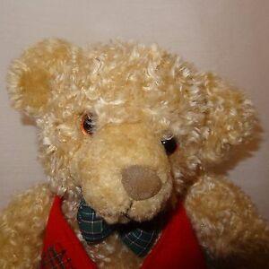 Teddy-Bear-Christmas-Red-Vest-Toy-Plush-Stuffed-Animal-9-034-Hallmark-Cards-Tan