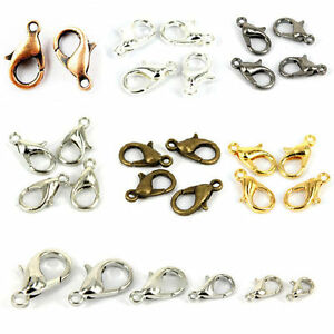 50-100Pcs-Jewelry-Findings-10-12MM-Gold-Silver-Plated-Lobster-Claw-Clasps-Hooks