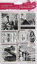 Papermania stamp 8 pc Around the World set 1 New York Egypt Rome China Birthday