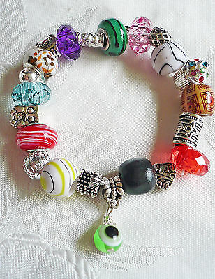 elastisches Bead Charms BettelArmband, bunt silber, Schmuck, Advent NEU+TOP