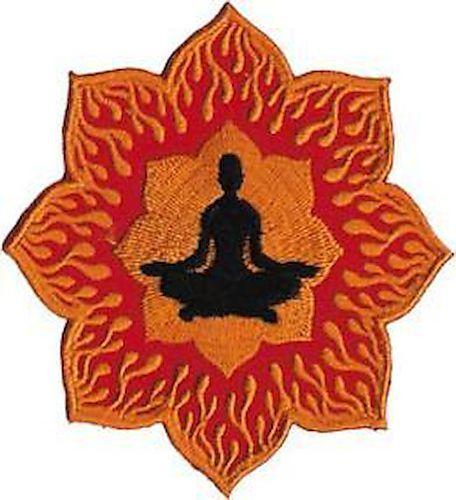 58010 Zen Lotus Orange and Red Flames Meditating Man Buddha Iron On Patch Badge