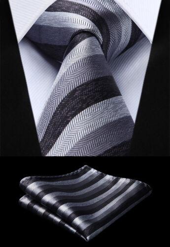 Homme Cravate Noir Gris à Rayures hisdern Tissé Cravate Mouchoir Set#TS717L8S