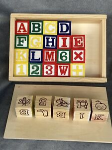 Wooden Letter /& Number Block Cube Kid Baby Alphabet Literacy Educational Toy