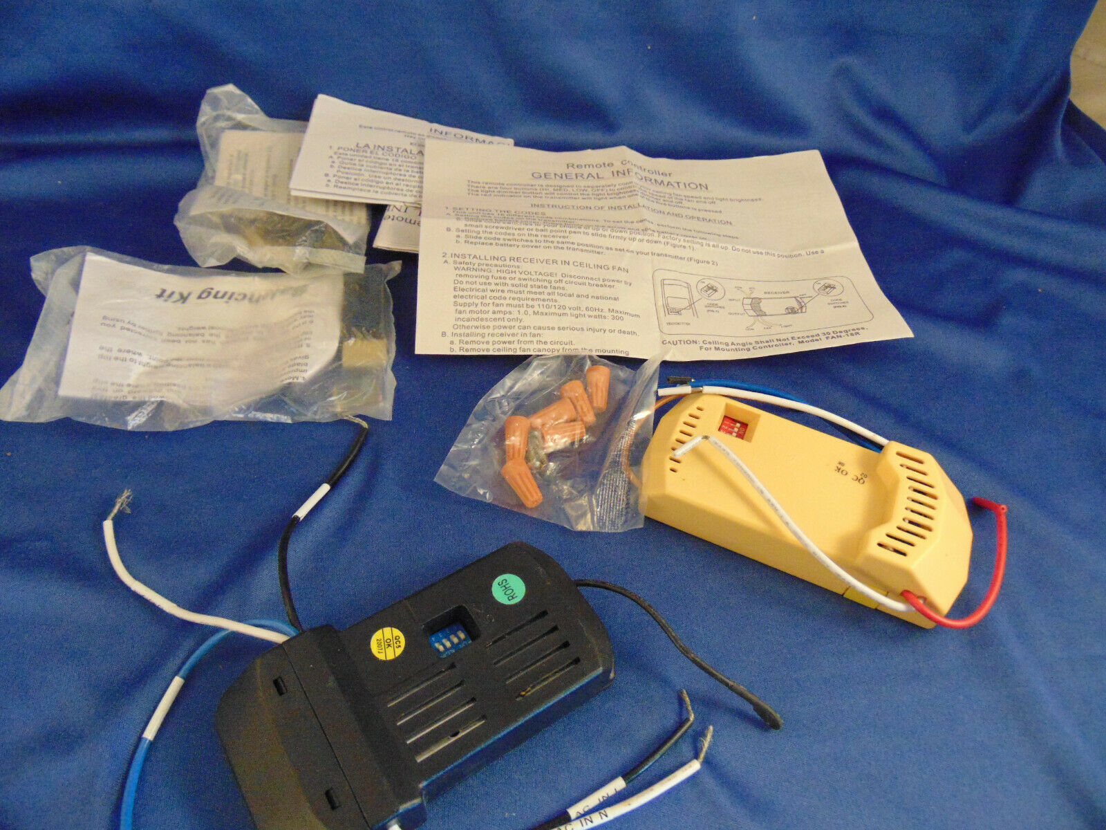 2 Ceiling fan remote control install instructions model UC7067RC solid state fan