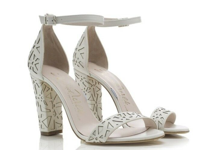 Maggie May May May Laser-Cut Coloree Avorio Leather Tacco A Blocco Tg RRP | Spaccio  e51ac3